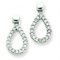 Diamond Teardrop Dangle Earrings in 14k White Gold