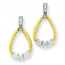 Diamond Teardrop Post Earrings in 14k Two-tone Gold