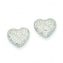 Diamond Heart Post Earrings in 14k White Gold