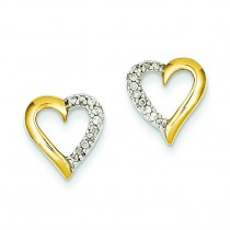Diamond Post Earrings in 14k Yellow Gold