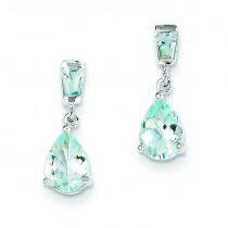 Aquamarine Dangle Earrings in 14k White Gold