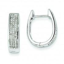 Diamond Medium Hinged Oval Hoop Earrings in 14k White Gold