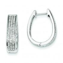 Diamond Large Hinged Oval Hoop Earrings in 14k White Gold