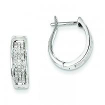 Diamond Hinged Oval Hoop Earrings in 14k White Gold