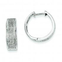 Diamond Hinged Round Hoop Earrings in 14k White Gold