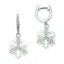 Diamond Small Snowflake Earrings in 14k White Gold