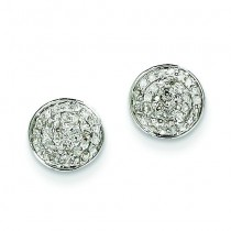 Diamond Small Round Pave Post Earrings in 14k White Gold