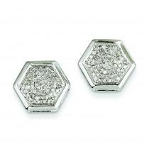 Diamond Medium Hexagon Bezel Post Earrings in 14k White Gold
