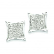 Diamond Medium Square Bezel Post Earrings in 14k White Gold