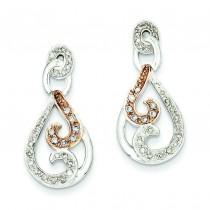 Rhodium Diamond Post Earrings in 14k Yellow Gold