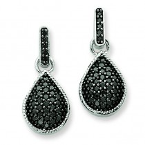 Black Diamond Teardrop Dangle Post Earrings in 14k White Gold