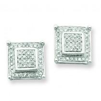 Diamond Small Double Square Bezel Post Earrings in 14k White Gold