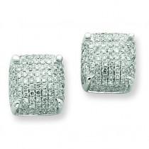 Diamond Medium Cube Post Earrings in 14k White Gold