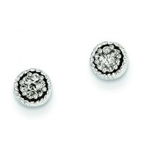 Seven Diamond Bezel Post Earrings in 14k White Gold