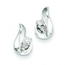 Diamond Post Earrings in 14k White Gold