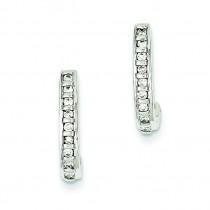 Diamond J Hoop Post Earrings in 14k White Gold