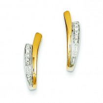 Diamond V Post Earrings in 14k Yellow Gold