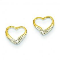 Rhodium Diamond Heart Post Earrings in 14k Yellow Gold