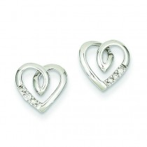 Heart Post Earrings in 14k White Gold