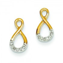 Rhodium Diamond Post Earrings in 14k Yellow Gold