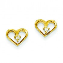 Diamond Heart Earrings in 14k Yellow Gold (0.032 Ct. tw.) (0.032 Ct. tw.)