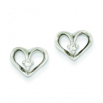Diamond Heart Earrings in 14k White Gold (0.032 Ct. tw.) (0.032 Ct. tw.)