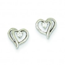 Diamond Heart Earrings in 14k White Gold (0.05 Ct. tw.) (0.05 Ct. tw.)