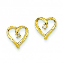 Diamond Heart Earrings in 14k Yellow Gold (0.05 Ct. tw.) (0.05 Ct. tw.)