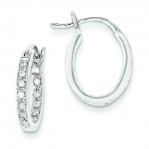 Quality Completed Diamond In Out Hoop Earrings in 14k White Gold (0.24 Ct. tw.) (0.24 Ct. tw.)