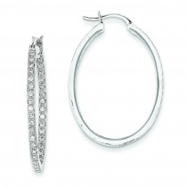 Quality Completed Diamond In Out Hoop Earrings in 14k White Gold (0.64 Ct. tw.) (0.64 Ct. tw.)