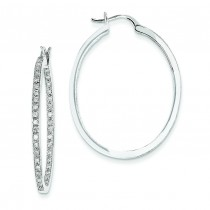 Quality Completed Diamond In Out Hoop Earrings in 14k White Gold (0.71 Ct. tw.) (0.71 Ct. tw.)