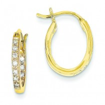 Quality Completed Diamond In Out Hoop Earrings in 14k Yellow Gold (0.23 Ct. tw.) (0.23 Ct. tw.)