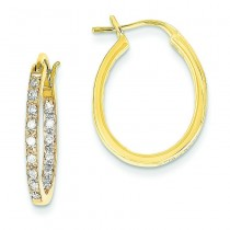 Quality Completed Diamond In Out Hoop Earrings in 14k Yellow Gold (0.33 Ct. tw.) (0.33 Ct. tw.)