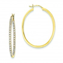 Quality Completed Diamond Hoop Earrings in 14k Yellow Gold