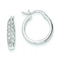 Diamond In Out Hoop Earrings in 14k White Gold (0.25 Ct. tw.) (0.25 Ct. tw.)