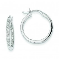 Diamond In Out Hoop Earrings in 14k White Gold (0.32 Ct. tw.) (0.32 Ct. tw.)