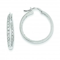 Diamond In Out Hoop Earrings in 14k White Gold (0.49 Ct. tw.) (0.49 Ct. tw.)