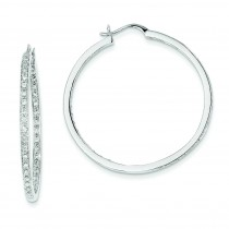 Quality Completed Diamond In Out Hoop Earrings in 14k White Gold (0.66 Ct. tw.) (0.66 Ct. tw.)