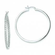 Quality Completed Diamond In Out Hoop Earrings in 14k White Gold (0.91 Ct. tw.) (0.91 Ct. tw.)