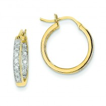 Diamond In Out Hoop Earrings in 14k Yellow Gold (0.25 Ct. tw.) (0.25 Ct. tw.)