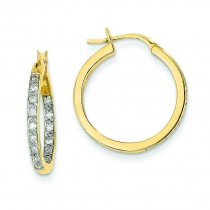 Quality Completed Diamond In Out Hoop Earrings in 14k Yellow Gold (0.32 Ct. tw.) (0.32 Ct. tw.)