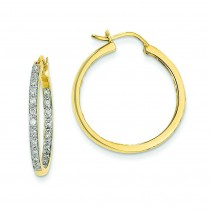 Quality Completed Diamond In Out Hoop Earrings in 14k Yellow Gold (0.49 Ct. tw.) (0.49 Ct. tw.)