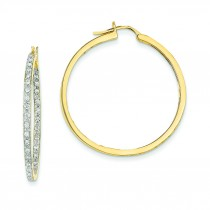 Quality Completed Diamond In Out Hoop Earrings in 14k Yellow Gold (0.64 Ct. tw.) (0.64 Ct. tw.)