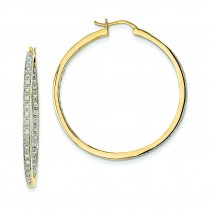 Quality Completed Diamond In Out Hoop Earrings in 14k Yellow Gold (0.69 Ct. tw.) (0.69 Ct. tw.)