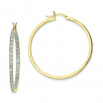 Quality Completed Diamond In Out Hoop Earrings in 14k Yellow Gold (0.91 Ct. tw.) (0.91 Ct. tw.)