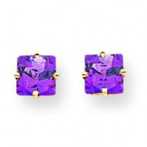 Princess Cut Amethyst Earrings in 14k Yellow Gold