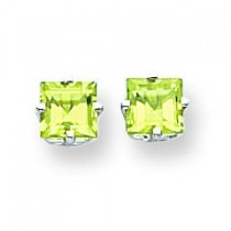 Princess Cut Peridot Earrings in 14k White Gold