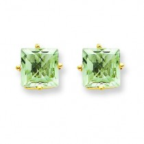 Square Green Amethyst Earring in 14k Yellow Gold