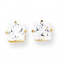 Princess Cut Cubic Zirconia Earrings in 14k Yellow Gold