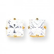 Princess Cut Cubic Zirconia Earrings in 14k Yellow Gold